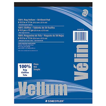"Staedtler® Plain Vellum Paper, 8 1/2"" x 11"", White, Pack Of 50 Sheets"