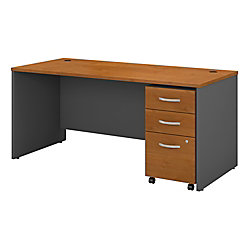 "Bush Business Furniture Components 66""W x 30""D Office Desk With Mobile File Cabinet, Natural Cherry/Graphite Gray, Premium Installation"