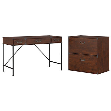 """kathy ireland® Office by Bush Furniture Ironworks 48""""W Writing Desk And Lateral File Cabinet, Coastal Cherry, Standard Delivery"""