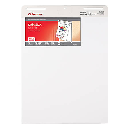 Office depot brand 30percent recycled restickable easel pad 25 x 30