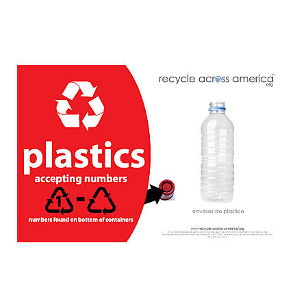 """Recycle Across America Plastics With Number Standardized Recycling Label, PLASS#-5585, 5 1/2"""" x 8 1/2"""", Red"""