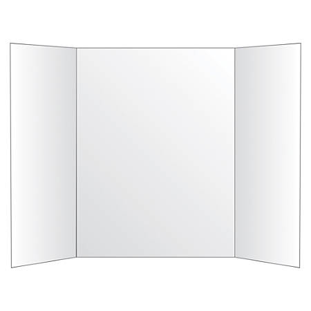 """Office Depot® Brand 72% Recycled Tri-Fold Corrugate Display Board, 36"""" x 48"""", White"""