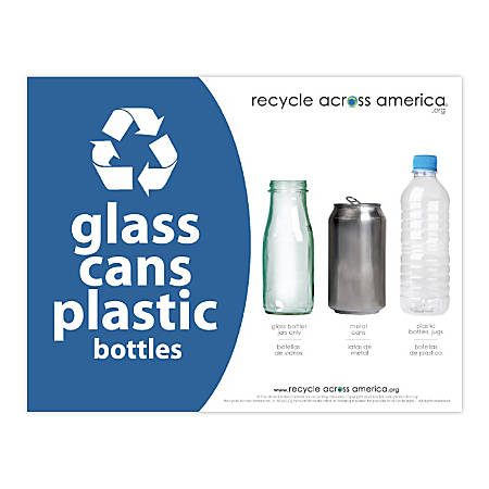 "Recycle Across America Glass, GCP-8511, Cans And Plastics Standardized Recycling Label, 8 1/2"" x 11"", Blue"