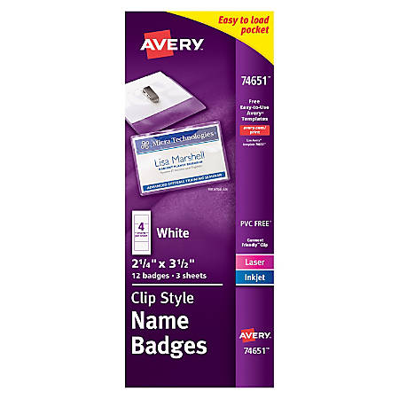 """Avery® Clip Style Name Badges, Top/Side Loading, 3 1/2"""" x 2 1/6"""", Pack Of 12"""