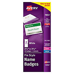 Avery Pin Style Name Badge Kit