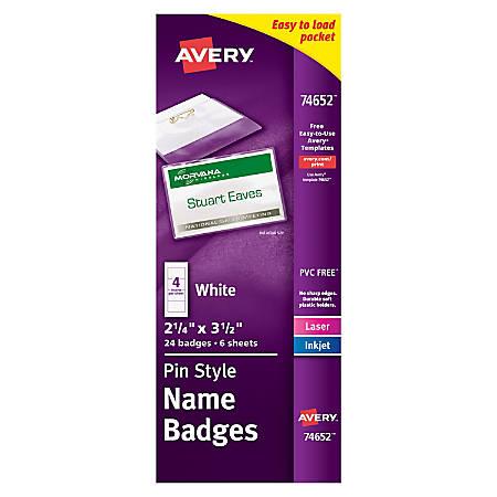 Avery pin style name badge kit topside loading 2 16 x 3 12 pack of avery pin style name badge kit saigontimesfo
