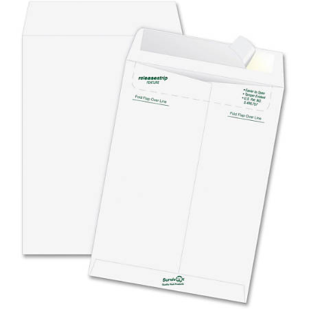 """Quality Park® Tyvek® Envelopes, 14 Lb., 9"""" x 12"""", White, Box Of 50"""