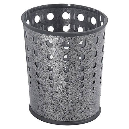Safco® Round Steel Wastebasket, 6 Gallons, Black Speckled