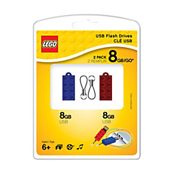 PNY USB 2.0 LEGO® USB Drive, 8GB, Assorted Colors, Pack Of 2