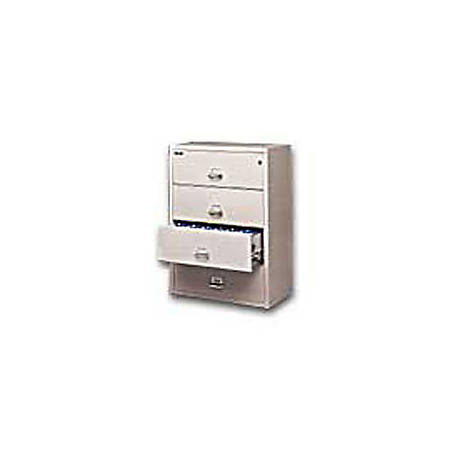 "FireKing® UL 1-Hour Lateral File, 4 Drawers, 52 3/4""H x 37 1/2""W x 22 1/8""D, Platinum, White Glove Delivery"