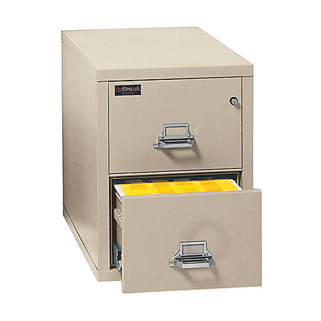 """FireKing® UL 1-Hour 31-5/8""""D Vertical 2-Drawer Letter-Size File Cabinet, Metal, Parchment, White Glove Delivery"""