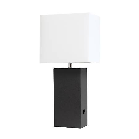 "Elegant Designs Modern Leather Table Lamp With USB Port, 21""H, White Shade/Black Base"