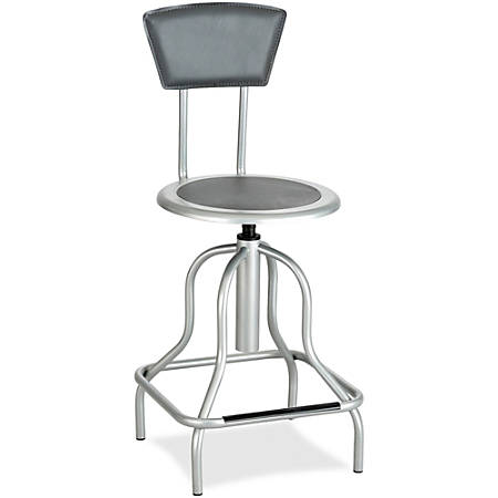 "Safco Diesel Series High Base Stool with Back - Leather Silver, Steel Seat - Leather Silver Back - Steel Silver Frame - 16.5"" Width x 16.5"" Depth x 41"" Height"