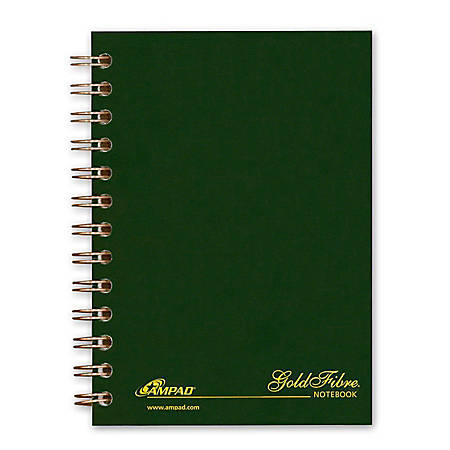 "Ampad Gold Fibre Personal Compact Notebooks - 130 Sheets - Double Wire Spiral - 5"" x 7"" - Green Cover - Micro Perforated, Pocket - 1Each"