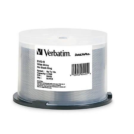 Verbatim DVD-R 4.7GB 16X DataLifePlus Shiny Silver Silk Screen Printable, Hub Printable - 50pk Spindle - 4.7GB - 50 Pack