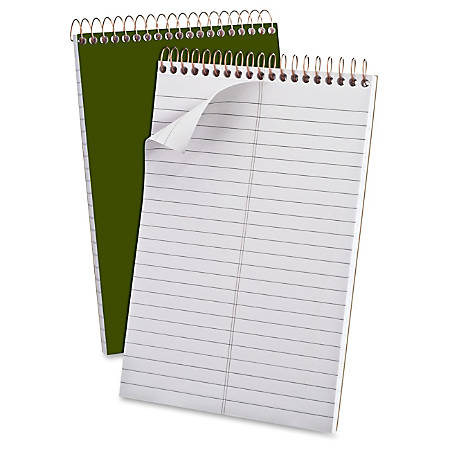 "Ampad GoldFibre Gregg-ruled Premium Steno Notebooks - 100 Sheets - Wire Bound - 0.31"" Ruled - 15 lb Basis Weight - 6"" x 9"" - White Paper - Green Cover - Durable Cover, Micro Perforated, Stiff-back - 1Each"