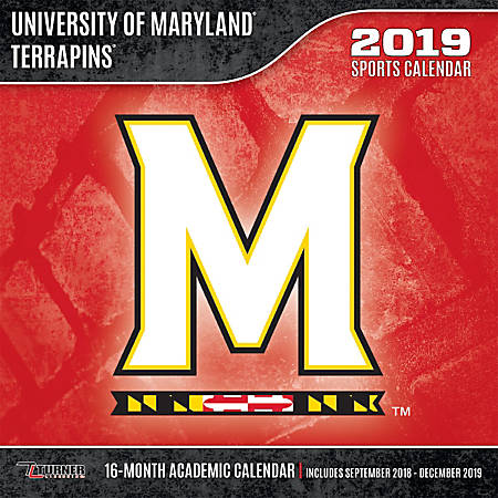 "Turner Sports Monthly Wall Calendar, 12"" x 12"", Maryland Terrapins, January to December 2019"