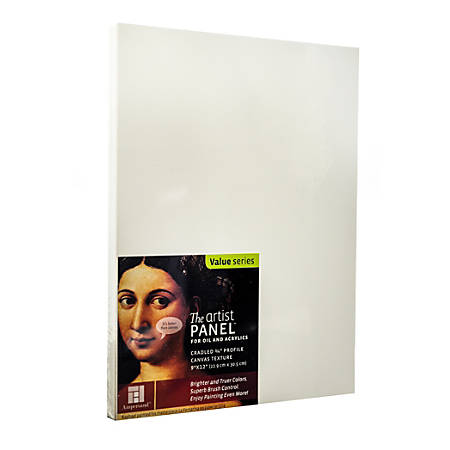 "Ampersand Artist Panel Canvas Texture Cradled Profile, 9"" x 12"", 3/4"", Pack Of 2"