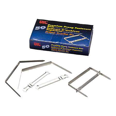 """Officemate Premium Prong Fasteners, 5 3/8"""", 2"""" Capacity, Silver, Box Of 50"""