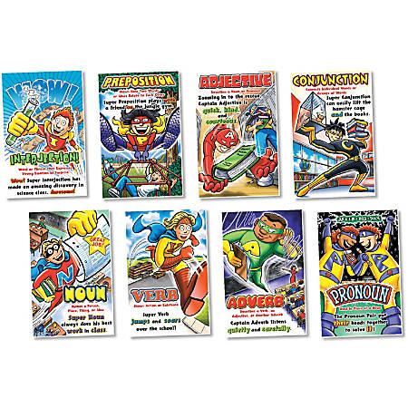 "North Star Teacher Resources Parts Of Speech Superheroes Poster Set, 11"" x 17"", Multicolor, Pre-K - Grade 8"