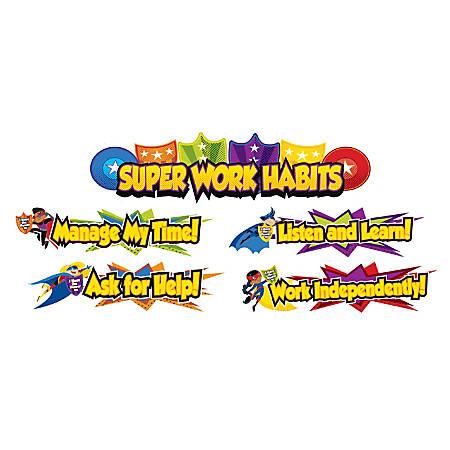Carson-Dellosa Super Power Super Work Habits Mini Bulletin Board Set, Multicolor, Grades K-5