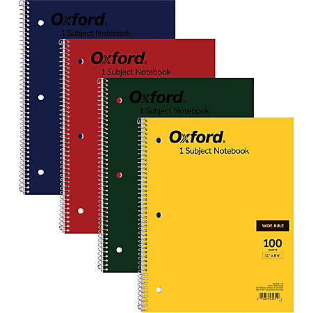 "TOPS Oxford Bright Primary Color Wirebound Notebook - Letter - 100 Sheets - Wire Bound - Ruled - 15 lb Basis Weight - 8 1/2"" x 11"" - White Paper - Assorted Cover - Rigid - Recycled - 1Each"