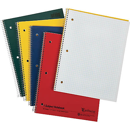 """Oxford 3 - Hole Punched Wirebound Notebook - Letter - 80 Sheets - Wire Bound - 15 lb Basis Weight - 8 1/2"""" x 11"""" - White Paper - Assorted Cover - Kraft Cover - Micro Perforated, Rigid, Subject - Recycled - 1Each"""