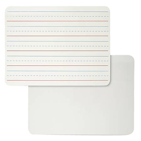 "Charles Leonard 2-Sided Plain/Lined Magnetic Dry-Erase Lap Boards, Masonite, 9"" x 12"", White, Pack Of 4"