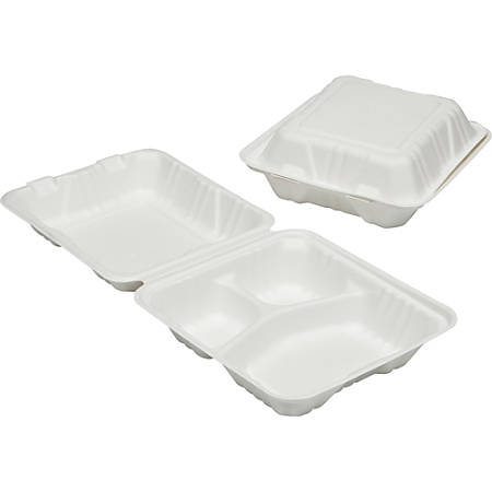SKILCRAFT 3-Compartment Hinged Lid Tray - Food Container - Wood Pulp - Microwave Safe - White - 200 Piece(s) / Carton - TAA Compliant