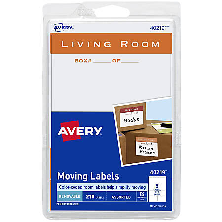Avery® Removable Moving Labels, 40219, Assorted Sizes, White, Pack Of 218