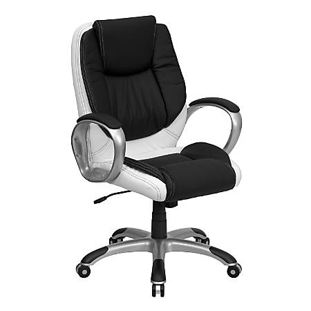 Flash Furniture Leather Mid-Back Swivel Chair, Black/White/Titanium
