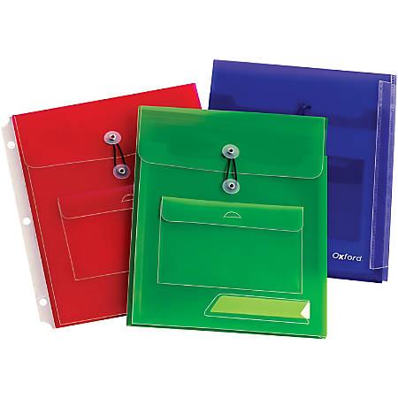 Oxford Poly Pocket Binder Envelopes - 150 Sheet Capacity - Poly - Assorted - 3 / Pack