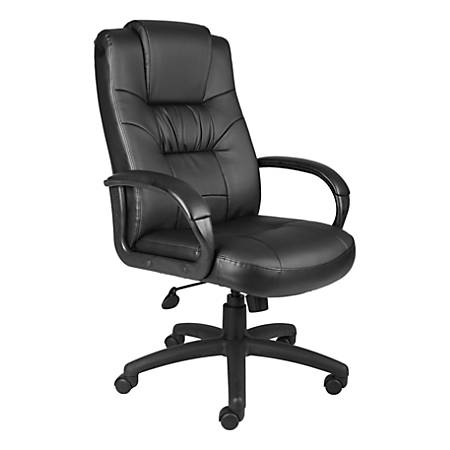 Boss Silhouette Leather High-Back Chair, Black
