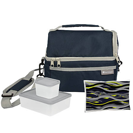 Bentology 4-Piece Lunch Kit With Dual-Compartment Tote, Night, Blue/Gray