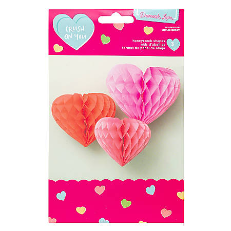 American Crafts Damask Love Valentine's Day Honeycomb Decorations, Assorted Colors, Pack Of 3 Decorations