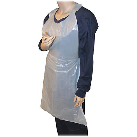 "Genuine Joe 50"" Disposable Poly Apron - Poly, Polyethylene - For Food Handling, Manufacturing - White - 1000 / Carton"