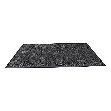"Waterhog Plus Swirl Floor Mat, 24"" x 36"", 100% Recycled, Gray Ash"