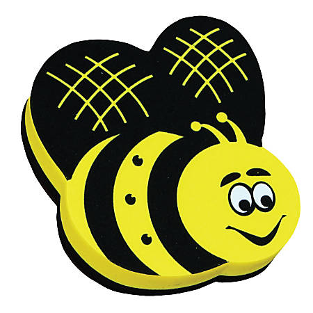 """Ashley Productions Magnetic Whiteboard Erasers, 3 3/4"""", Bee, Pack Of 6"""