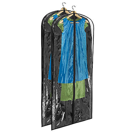 """Honey-Can-Do Hanging Garment Dress Storage Bags, 60""""H x 24""""W x 3""""D, Black, Pack Of 2"""