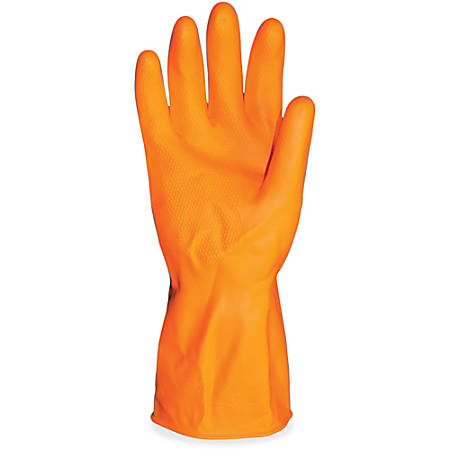 ProGuard Deluxe Flock Lined Latex Gloves - Small Size - Latex - Orange - Embossed Grip, Extra Heavyweight, Durable, Acid Resistant, Alcohol Resistant, Alkali Resistant, Abrasion Resistant, Tear Resistant, Long Lasting, Detergent Resistant, Fat Resist