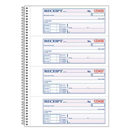 """Adams® Carbonless 2-Part Spiral Money/Rent Receipt Book, 7 5/8"""" x 11"""", Book Of 200 Sets"""