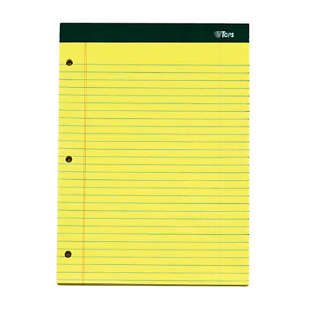 """TOPS™ Double Docket™ Perforated Writing Pads, 3-Hole Punched, 8 1/2"""" x 11 3/4"""", Legal Ruled, 100 Sheets, Canary, Pack Of 3 Pads"""