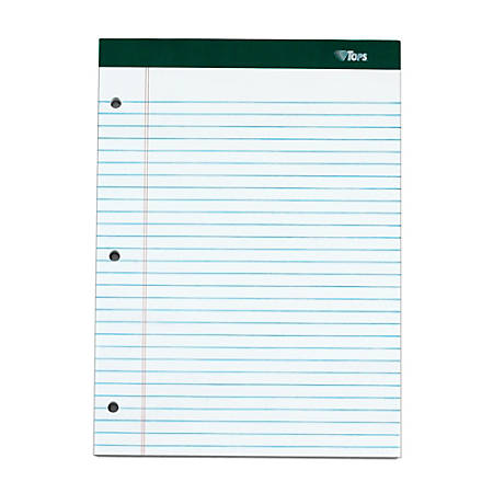 """TOPS™ Double Docket™ Perforated Writing Pads, 3-Hole Punched, 8 1/2"""" x 11 3/4"""", Legal Ruled, 100 Sheets, White, Pack Of 3 Pads"""