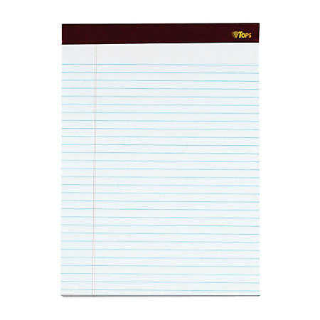 """TOPS™ Double Docket™ Gold Perforated Writing Pads, 8 1/2"""" x 11 3/4"""", Legal Ruled, 200 Pages (100 Sheets), White, Pack Of 2"""
