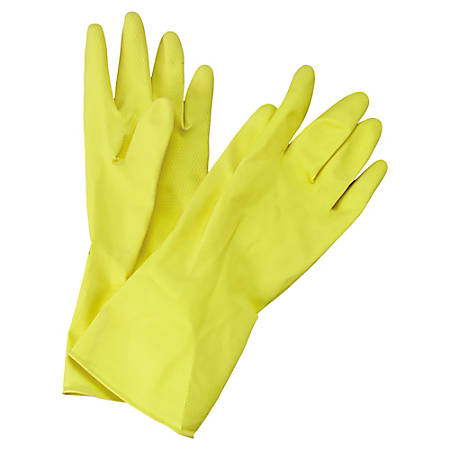 Boardwalk Flock-Lined Latex Cleaning Gloves, Medium, Yellow, Pack Of 12 Pairs