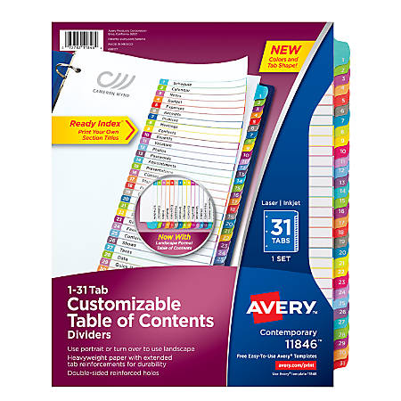 "Avery® Ready Index® Table Of Contents Dividers, 8 1/2"" x 11"", White/Multicolor, Pack Of 31"
