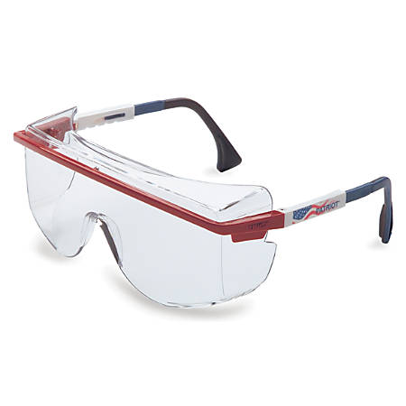 Astrospec OTG 3001 Eyewear, Clear Lens, Anti-Fog, Blue/Red/White Frame