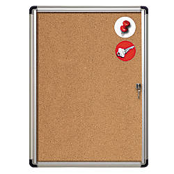 MasterVision Slim Line Cork Enclosed Bulletin