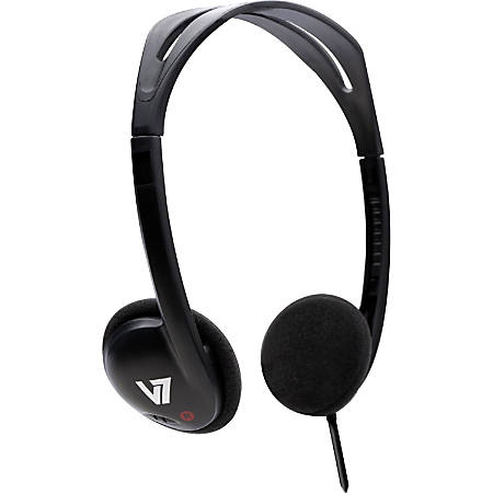 V7 Headphone - Stereo - Black - Mini-phone - Wired - 32 Ohm - 20 Hz 20 kHz - Over-the-head - Binaural - Semi-open - 3.94 ft Cable
