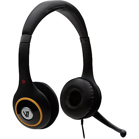 V7 Headset - Stereo - Wired - 20 Hz - 20 kHz - Over-the-head - Binaural - Supra-aural - Noise Cancelling Microphone - Black